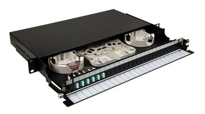 Picture of DYNAMIX 19' 1U Fibre Tray 12C LC MM FULLY LOADED w 12x LC Elite OM4