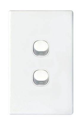 Picture of TRADESAVE Slim 16A 2-Way Vertical 2 Gang Switch. Moulded in Flame