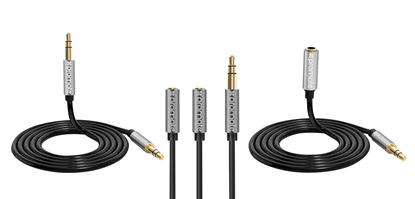 Picture of PROMATE 3-in-1 Auxiliary cable with 3.5mm Audio Cable splitter.