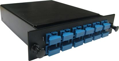 Picture of DYNAMIX MTP OM3 12 Port SC Simplex Multimode Fibre Cassette.