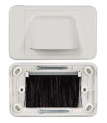 Picture of DYNAMIX AV Bull Nose Brush Plate. 2 Piece. White Colour.