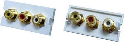 Picture of DYNAMIX 3 RCA Composite Bezel for AVP-3UFP Plate. Yellow, Red & White