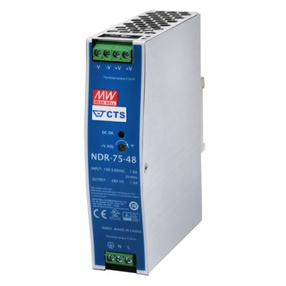 Picture of CTS 48V/75W DIN Rail Mount Power Supply. With Short circuit,