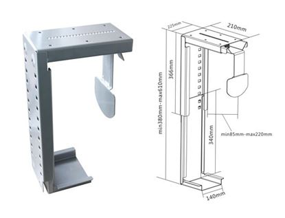 Picture of BRATECK Under Desk PC Holder. Wall mount and desk mount