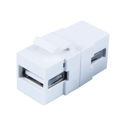 Picture of DYNAMIX USB 2.0 Keystone Jack. USB-A Female to Female Connectors.