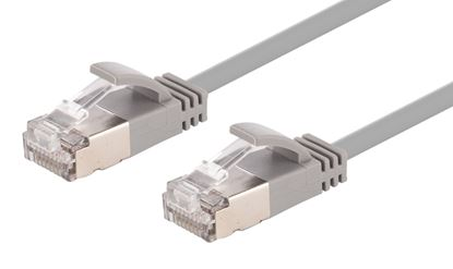 Picture of DYNAMIX 0.25m Cat6A S/FTP Grey Slimline Shielded 10G Patch Lead