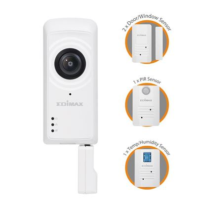 Picture of EDIMAX Home Connect Kit. 1x 3MP Camera. 2x Door/Window sensors.