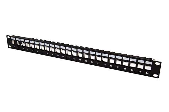 Picture of DYNAMIX 24 Port Unloaded Patch Panel Keystone Inserts, 1RU with