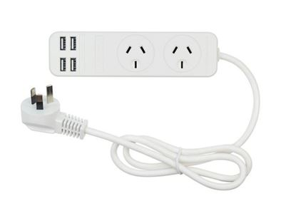 Picture of JACKSON 2x Outlet Power board with 4x USB Charging Outlets. 3.4A. 0.9m